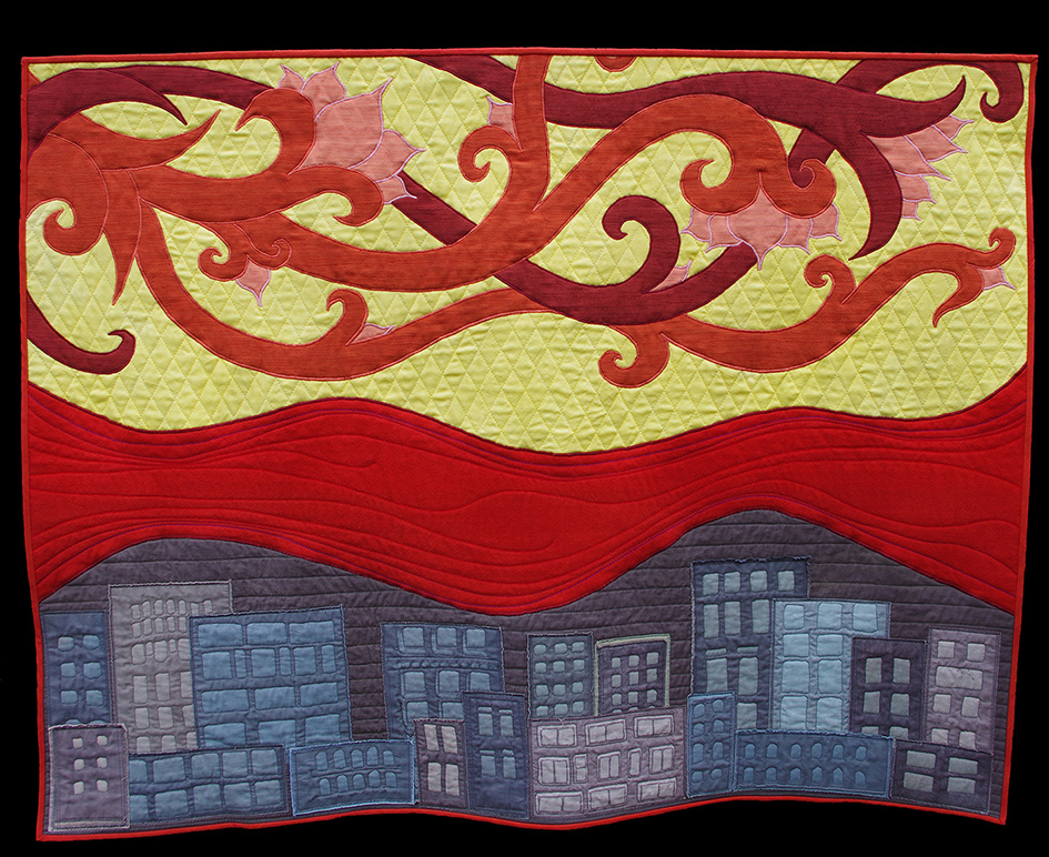 'The River Ran Red' 2014 quilted wall-hanging inspired by a Norwich Shawl in the Museum of Norwich at the Bridewell, made from wool, wool/silk and cotton