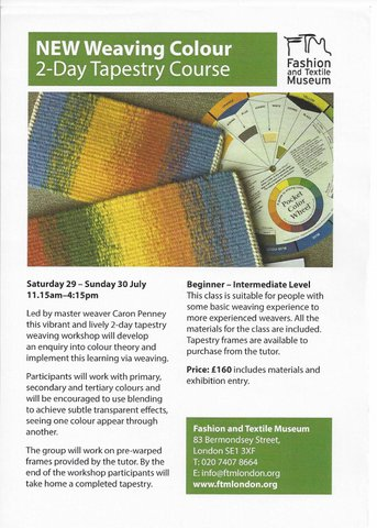 Weaving Colour: 2-Day Tapestry Course – 29 to 30 July – Fashion and Textile Museum, London